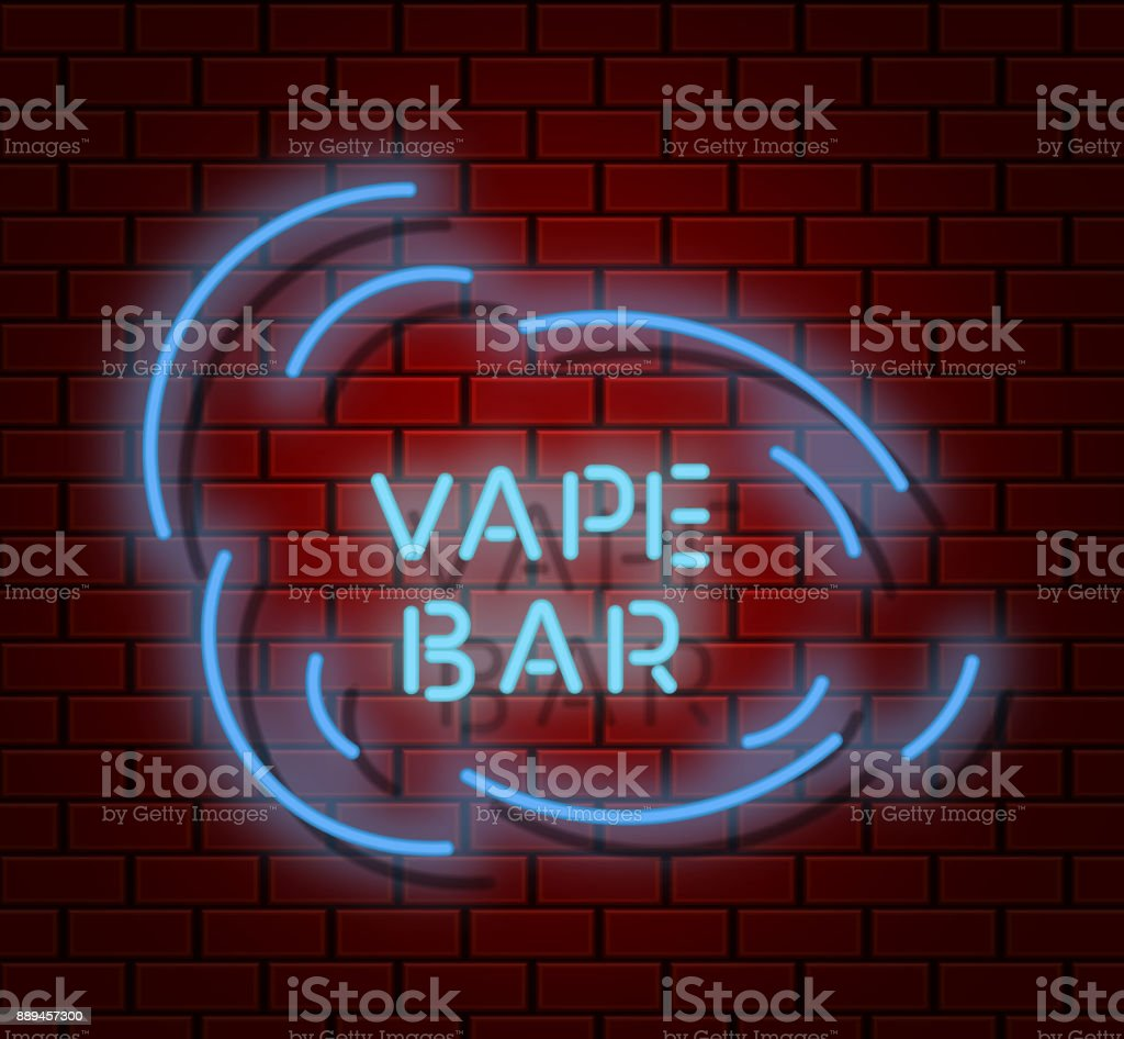 Vape Shop Neon Signboard With Hipster Trendy Bar Icon Electic Light  Background With Cloud Vector Illustration Stock Illustration - Download  Image Now