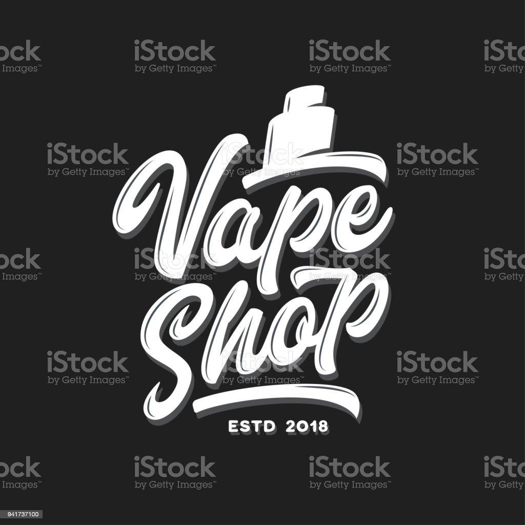 vape shop typography template vector vintage lettering illustration