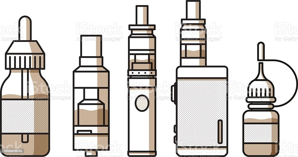 Vaping icons collection vector art illustration