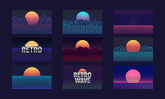 Vaporwave backgrounds with laser grid and retro sun. Retro futuristic sunsets - abstract landscapes 80s. Set of Cyberpunk backgrounds templates. Vector illustration