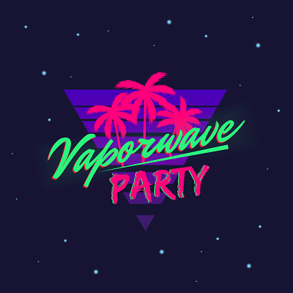 Vaporwave retro neon logo with beach palms isolated on dark background with retro texture. Trendy neon 80's design. Vector illustration