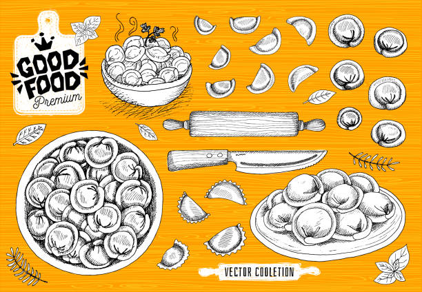 Vareniki. Pelmeni. Meat dumplings. Food. Cooking. National dishes. Products from the dough and meat. Vareniki. Pelmeni. Meat dumplings. Food. Cooking. National dishes. Products from the dough and meat. Good food premium market, logo design, shop, hand drawn vector collection ravioli stock illustrations