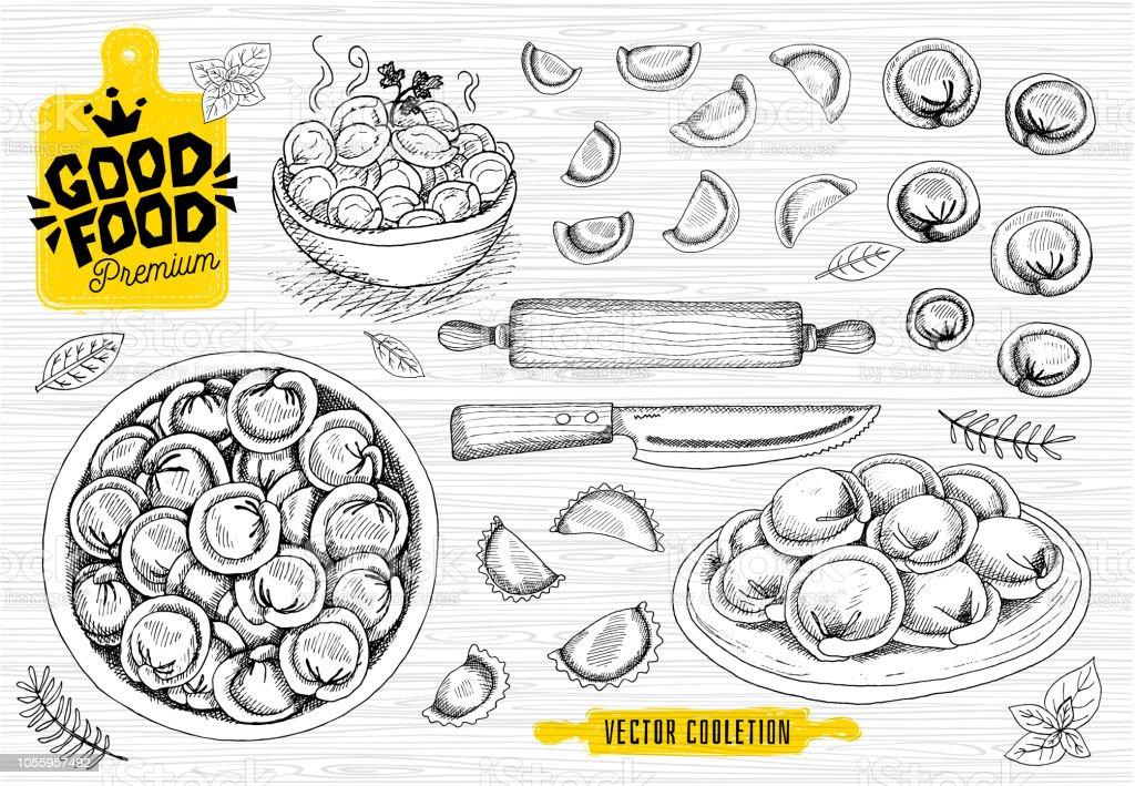 Vareniki. Pelmeni. Meat dumplings. Food. Cooking. National dishes....