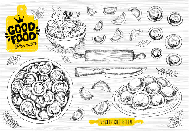 Vareniki. Pelmeni. Meat dumplings. Food. Cooking. National dishes. Products from the dough and meat. Vareniki. Pelmeni. Meat dumplings. Food. Cooking. National dishes. Products from the dough and meat. Good food premium market logo design shop, hand drawn vector collection. tortellini stock illustrations