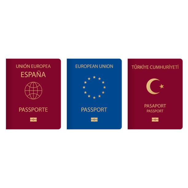 來自世界各地的護照的變化概念。一個檔的歐洲土耳其和西班牙的公民與標誌, 象徵月亮和星星, 一個地球和12顆星星在一個圓圈。 - 國際比賽 幅插畫檔、美工圖案、卡通及圖標