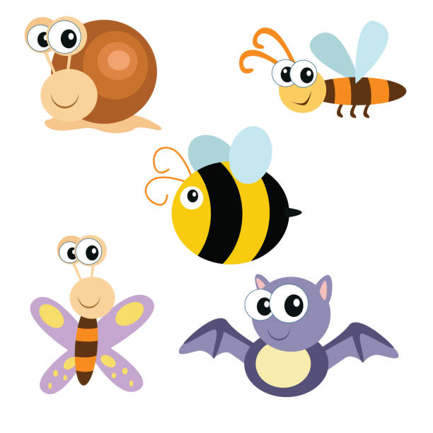variation cute little animals bat, bee, snail and moth, cartoon character picture of various kinds of adorable and cute animals bee clipart stock illustrations