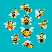 variation of cute and cheerful honey bee behavior, cartoon character