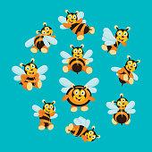 variation of cute and cheerful honey bee behavior, cartoon character