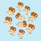 variation of cute and cheerful little goat behavior, cartoon character