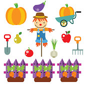 variation of harvest vegetable and cute scarecrow, cartoon image