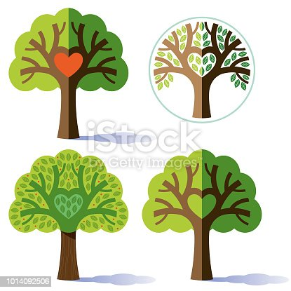 A group of four tree illustrations, using the same basic structure of a small tree with a branch forming a heart shape, but then producing variations on the treatment of the tree.