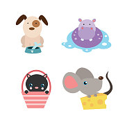 variations of cute animal collections dog, hippo, black cat and mouse, cartoon character