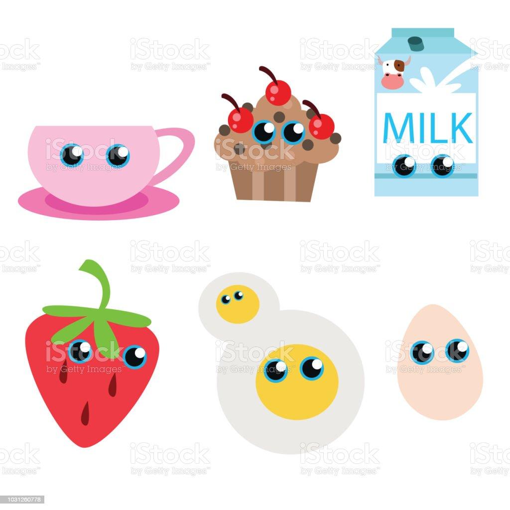 Vetores De Variações De Fofo Chá De Coleções De Comida E