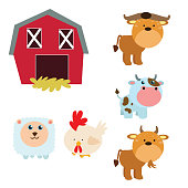 variations of cute livestock animal collections, cartoon character