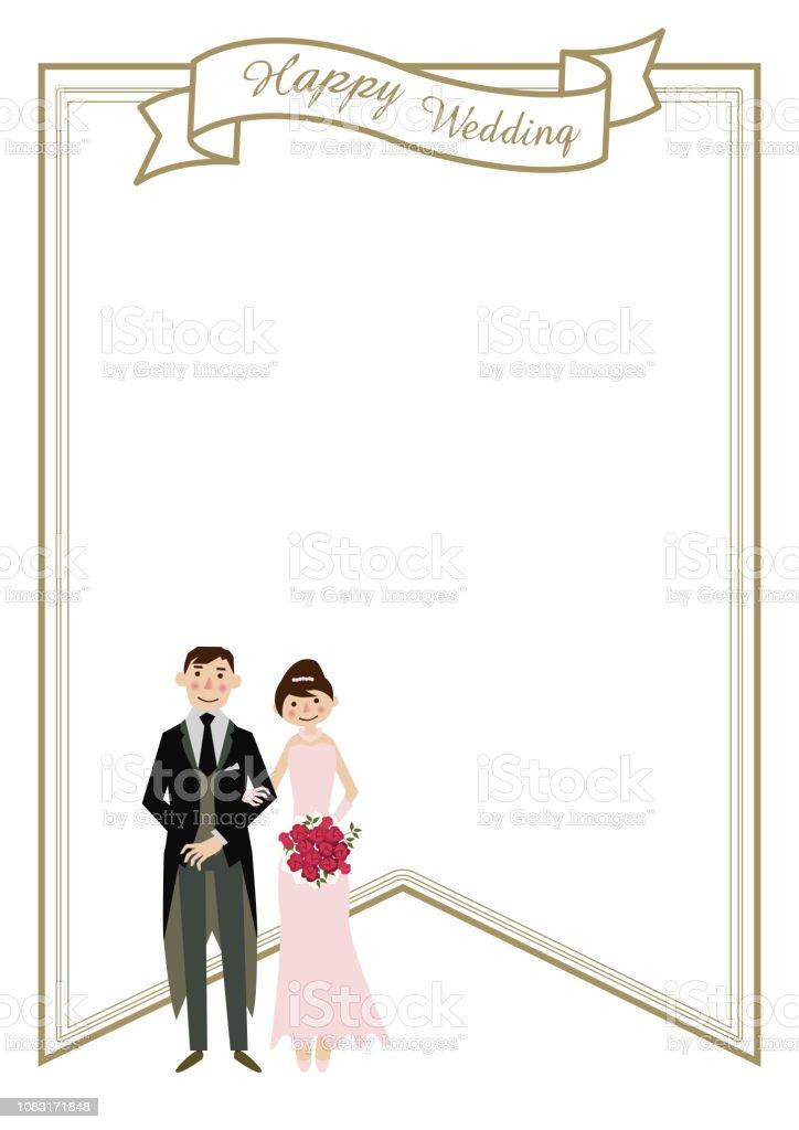Variações sobre cartões de casamento. Material do cartão de casamento. Ilustração da noiva e do noivo. Projeto para o casamento. Clip-art do noivo e noiva. Projeto de quadro de casamento. - ilustração de arte em vetor