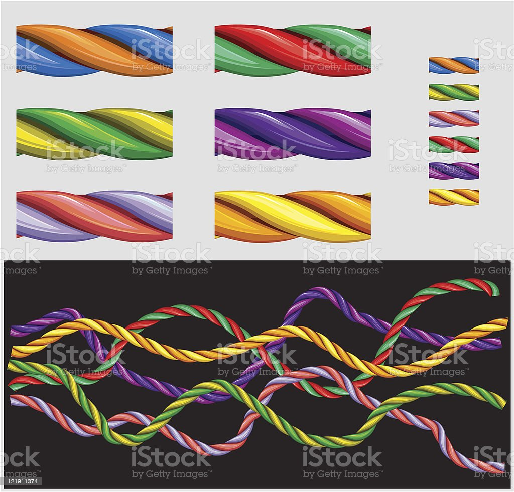 Varicolored ropes royalty-free varicolored ropes stock vector art & more images of braided hair