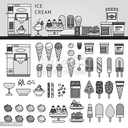 Line icons monochrome design of ice cream boxes and ice cream cakes. Fruit ice with ice cream on a stick, waffle horn, ice cream balls, ice cream in the glaze and ice cream balls isolated on white