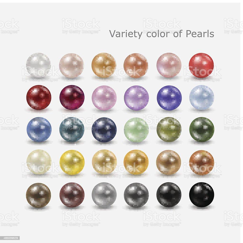 Variety color of pearls set vector art illustration
