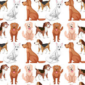 Variety dog seamless pattern illustration