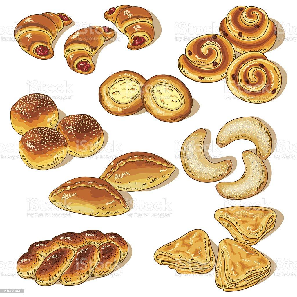 Variety of bakery vector art illustration