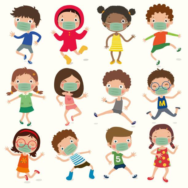 illustrations, cliparts, dessins animés et icônes de variété de gestes d'enfants, les enfants portent un masque pour empêcher le covid-19, la distance sociale, le vecteur, l'illustration - enfant masque