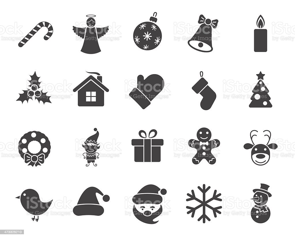 Variety of Christmas icons in black and white vector art illustration
