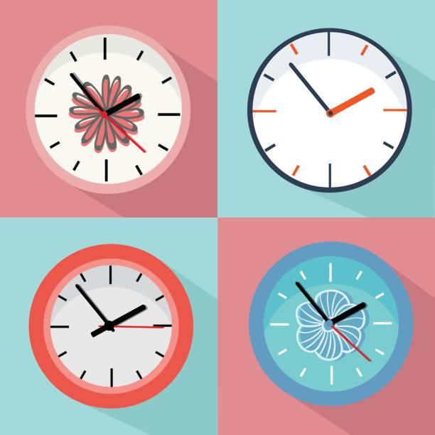 Variety of clocks Vector illustration, Flat and minimal wall clock stock illustrations