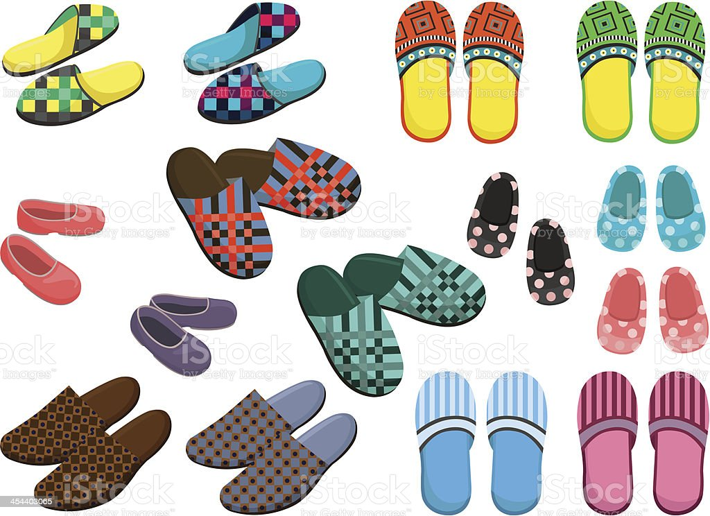 A variety of colorful, patterned slipper designs royalty-free stock vector art