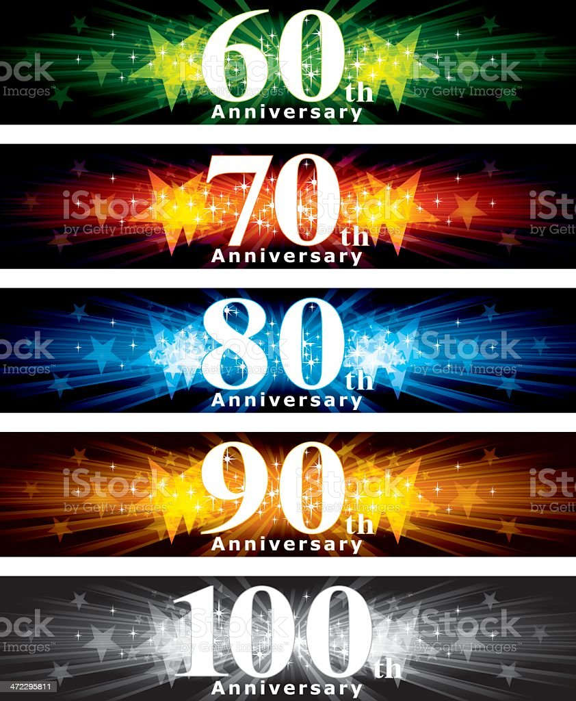 A variety of different years anniversary banner vector art illustration