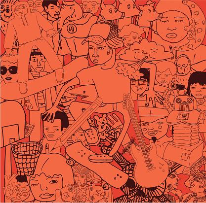 Variety of Doodles Drawings People