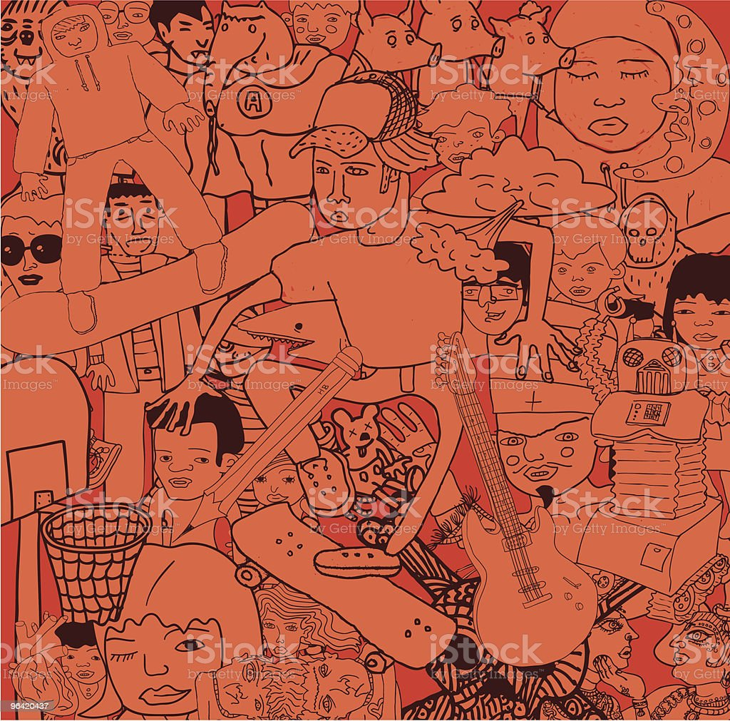 Variety of Doodles Drawings People vector art illustration