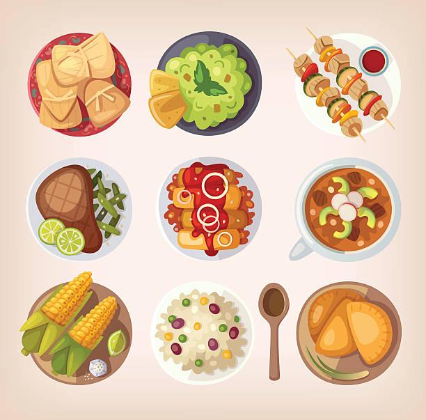 illustrations, cliparts, dessins animés et icônes de cuisine mexicaine icônes - risotto