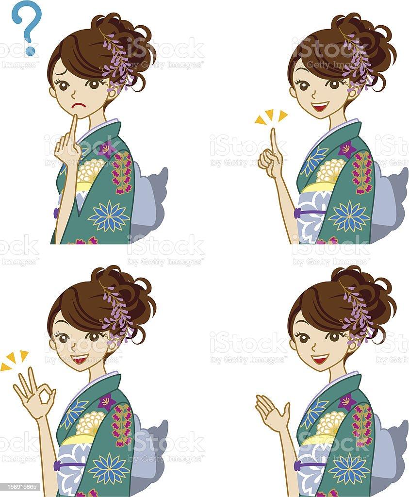 Variety of facial expressions,  Green Kimono woman royalty-free stock vector art