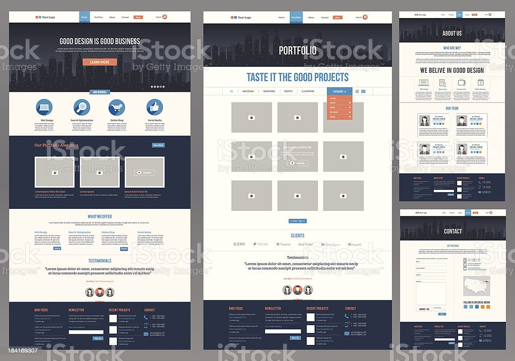 Variety of flat website templates vector art illustration