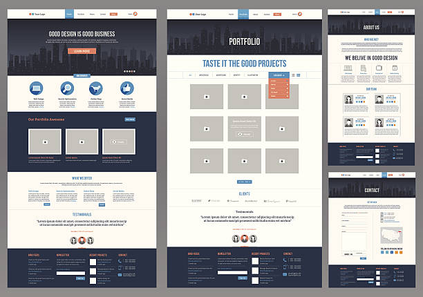 variety of flat website templates - email templates stock illustrations