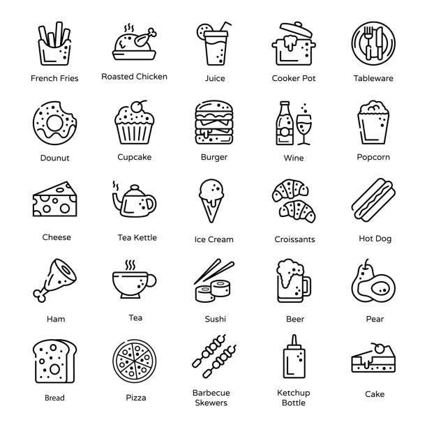 variety of food and snacks in line design - burger and chicken stock illustrations