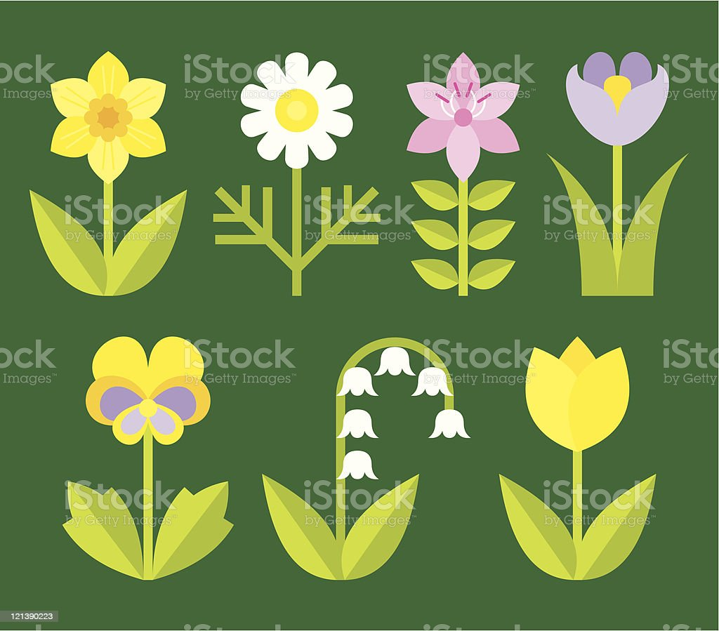 variety of garden flowers vector art illustration
