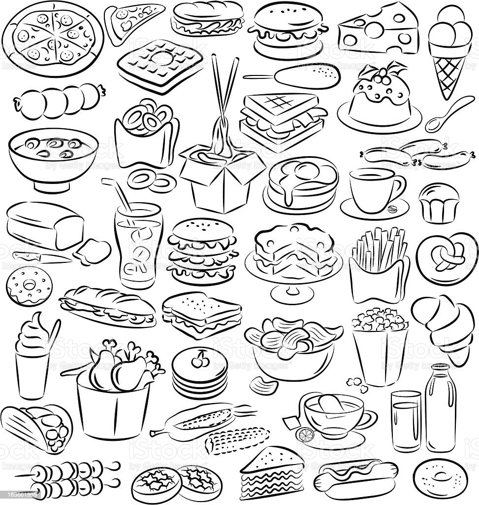 A variety of Hand drawn food and drink icons vector art illustration