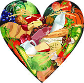 Variety of Healthy Foods in Heart Shape