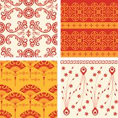 A vector illustration to show 4 sets of oriental pattern