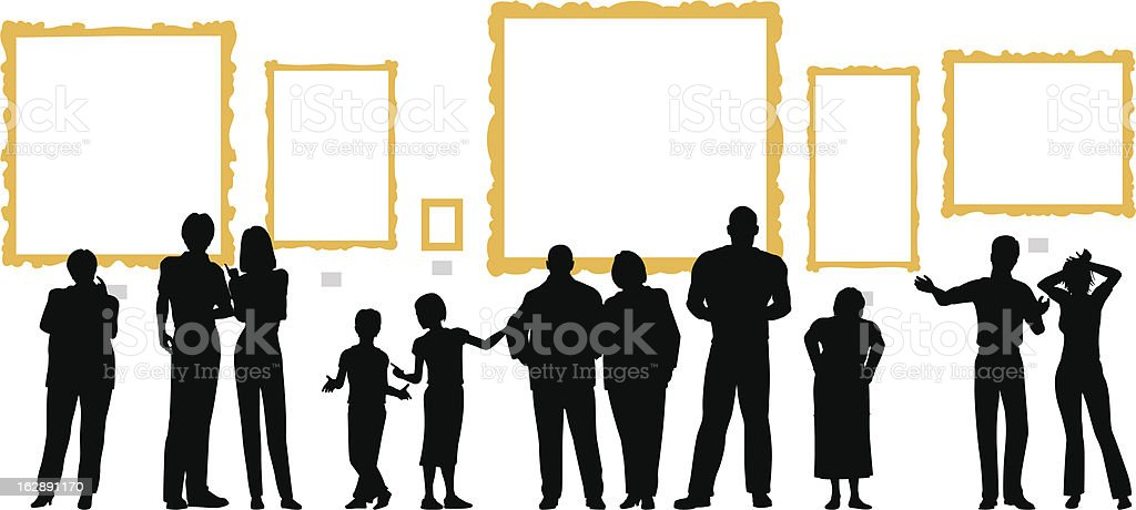 Variety of people silhouetted in front of blank gold frames vector art illustration