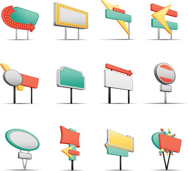bildbanksillustrationer, clip art samt tecknat material och ikoner med a variety of retro street signs - stock arrow
