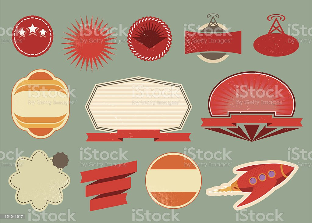 Variety of retro vintage labels against blue background royalty-free variety of retro vintage labels against blue background stock vector art & more images of 1940-1949