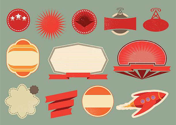Variety of retro vintage labels against blue background vector art illustration
