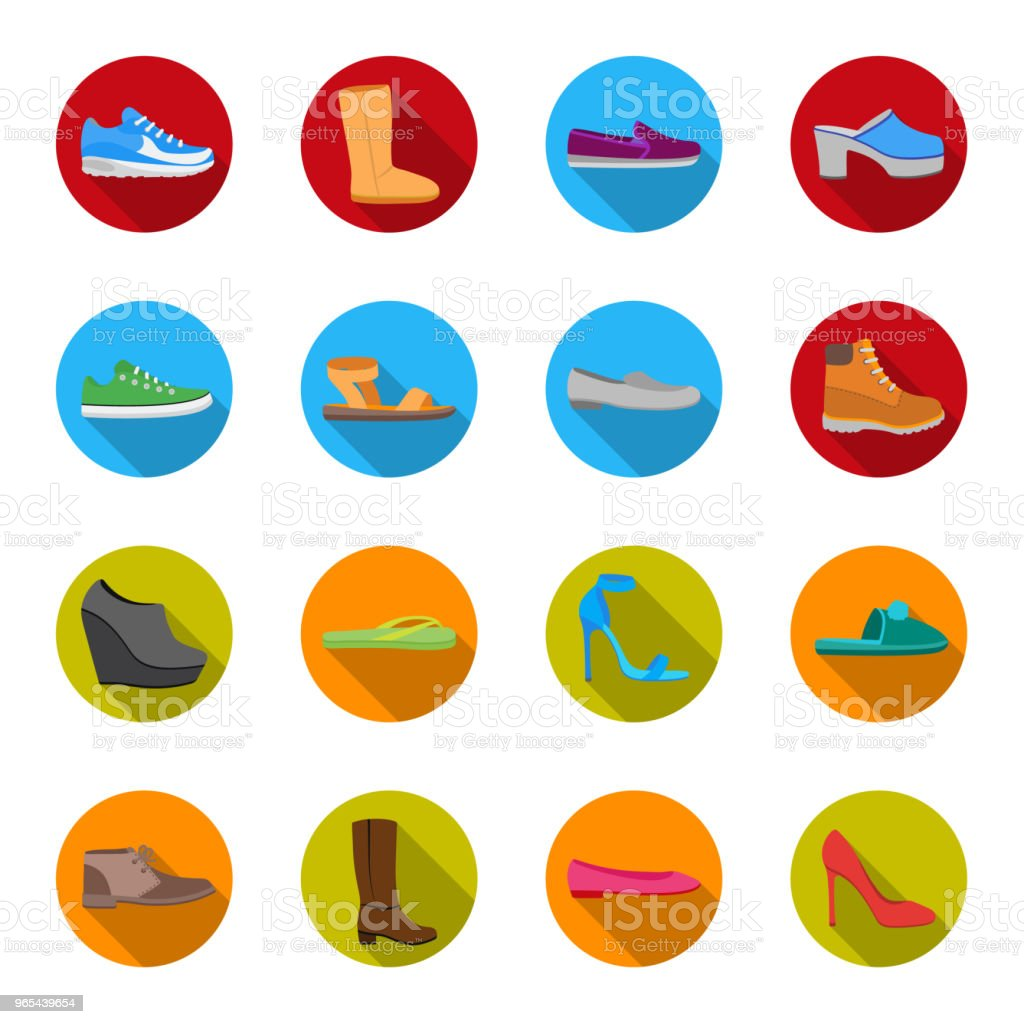 A variety of shoes flat icons in set collection for design. Boot, sneakers vector symbol stock web illustration. royalty-free a variety of shoes flat icons in set collection for design boot sneakers vector symbol stock web illustration stock vector art & more images of ankle