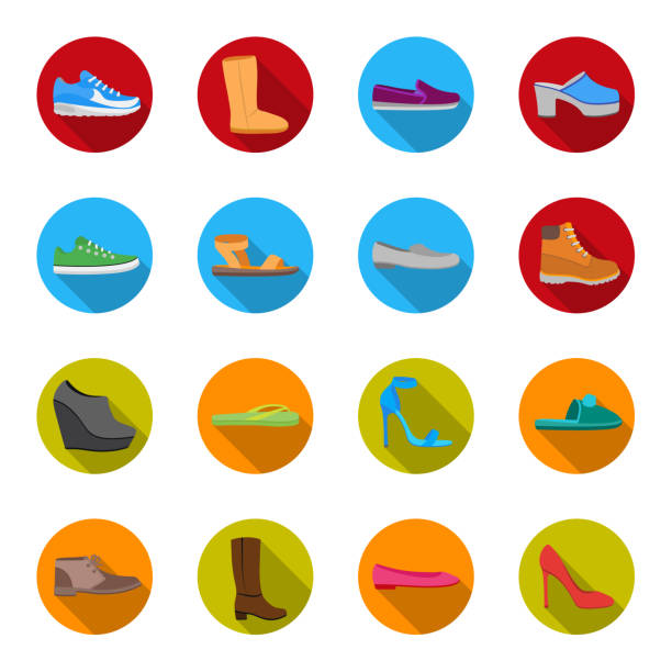 A variety of shoes flat icons in set collection for design. Boot, sneakers vector symbol stock web illustration. - illustrazione arte vettoriale