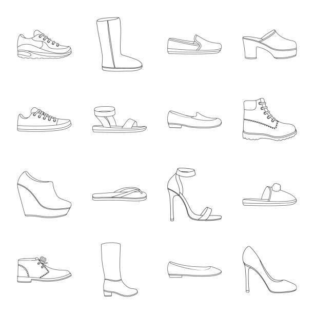 eine vielzahl von schuhe umreißen symbole im set sammlung für design. boot, vektor-turnschuhe symbol lager web illustration. - eleganter schuh stock-grafiken, -clipart, -cartoons und -symbole