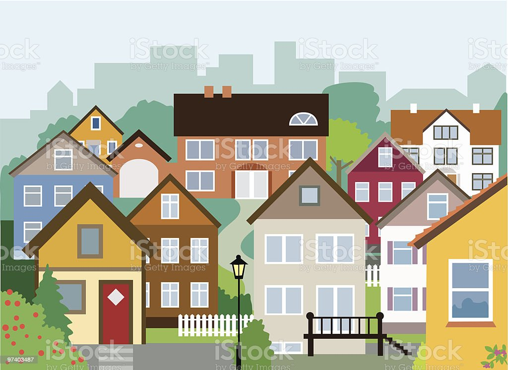 Variety of Small and Large Houses in Neighbourhood vector art illustration