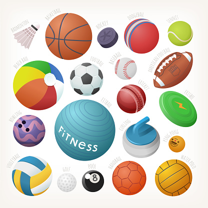 Variety of sports equipment. Set of balls for all games with names. Isolated vector images.