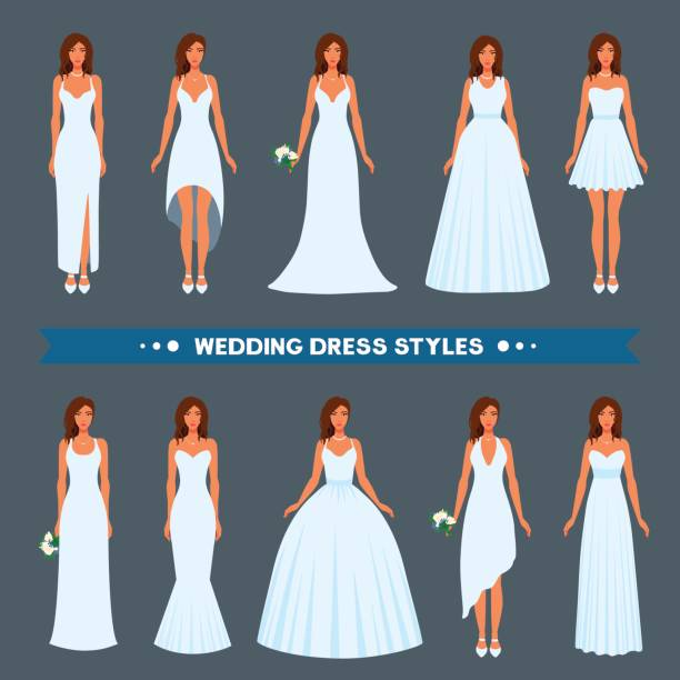 A variety of styles, types, fashions of wedding dress to wear on a beautiful girl. Mermaid, a-line, column, ball gown, empire, greek, v-neck, sheath, straight, trumpet, sleeveless gown for bride. wedding dress stock illustrations